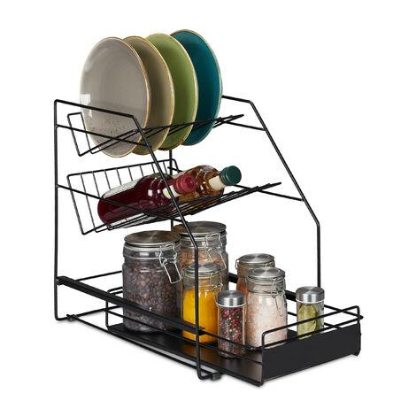 Organizador armario cocina, Extraíble, Sin taladrar, Orden cocina, Soporte platos, 39,5x25x40cm, Color Negro