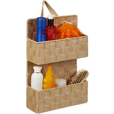 Organizador colgante de baño, Dos estantes, PP, 48x25x15 cm