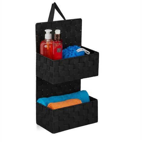 Organizador colgante de baño, Dos estantes, PP, 48x25x15 cm, Negro