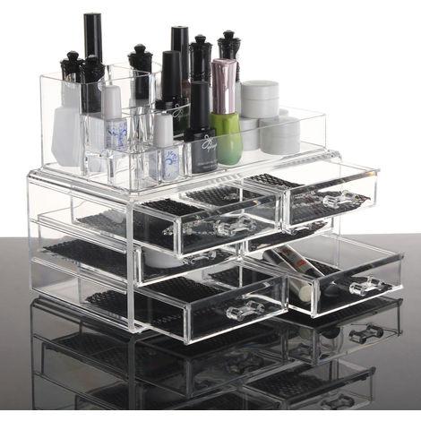 Organizador cosmético acrílico transparente Componente Caja de cajones Almacenamiento Caja de joyería Titular
