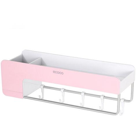 Organizador de almacenamiento de estante de bano, Estante de ducha magnetico,Rosa