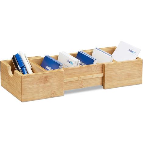 – Organizador de cartas de presentación, hecha de bambú, 5.5 x 13 x 30 cm aprox., se puede extender, color natural