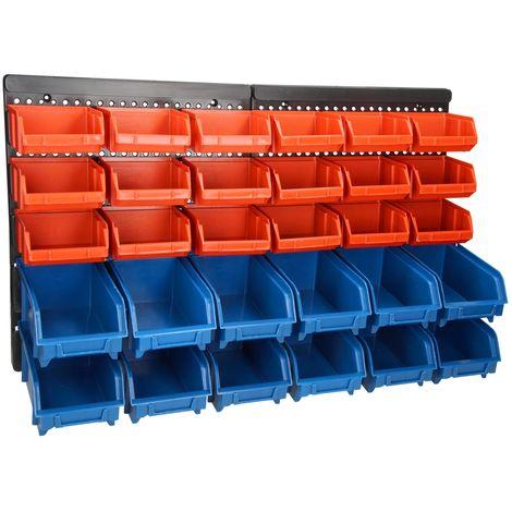 Organizador de herramientas en pared 30 cajas de almacenaje portaherramientas