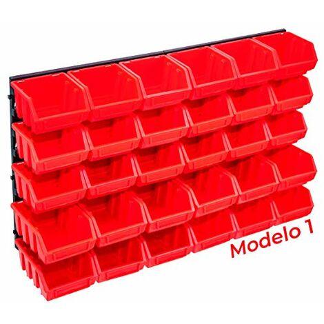 Organizador de Herramientas PARED Plástico Panel Bandejas para Taller Mecánico, Bricolaje o Garaje (Modelo 1 - 32 piezas)