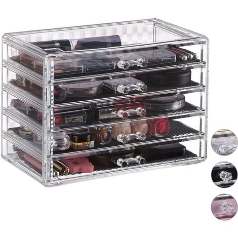 Organizador de maquillaje, Cinco cajones, Caja para cosméticos, Fundas protectoras, Transparente