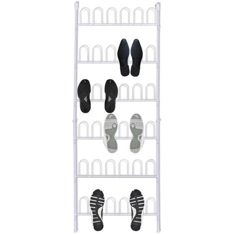 Organizador de zapatos de metal blanco, 18 pares