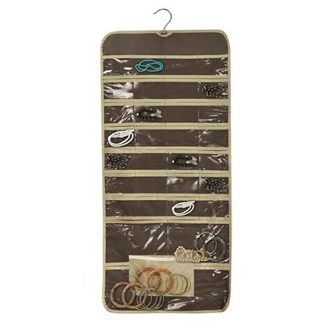Organizador doble con percha marrón chocolate (45x95)