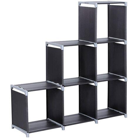 Organizador multifuncional Estantería Librería de 3 niveles 6 Cubos almacenaje 110 x 32 x 106cm Negro LSN63H