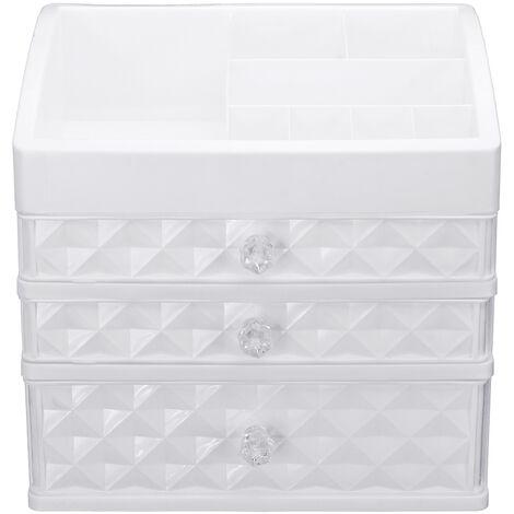 Organizador plástico del soporte de la tabla de la joyería del cajón de la caja de almacenamiento del maquillaje cosmético de Mohoo