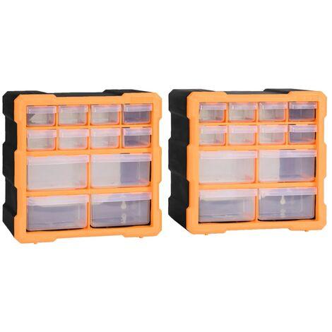 Organizadores multicajones con 12 cajones 2 uds 26,5x16x26 cm