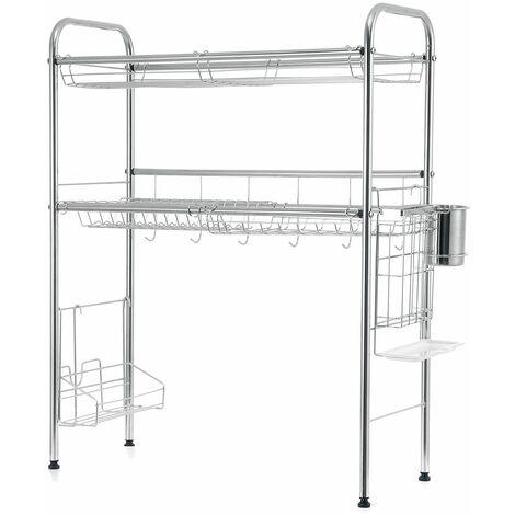 Organize Double Level Dish Drying Rack Rack Shelf Drainer Storage Above Sink (60CM 2 Tier)
