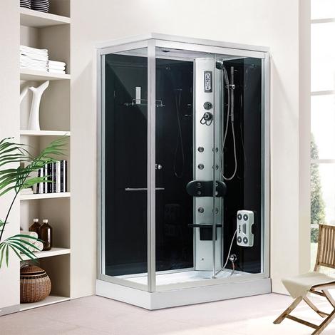 Organtina : Douche Balnéo rect : 6 jets de massage, cadre en aluminium argenté paroi en verre trempé noir