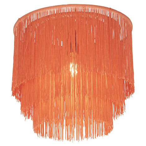 Oriental ceiling lamp gold pink shade with fringes - Franxa