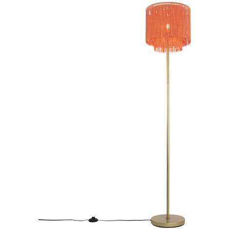 Oriental floor lamp gold pink shade with fringes - Franxa