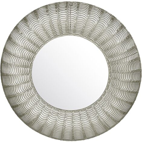 """main image of """"Oriental Glamour Round Wall Mirror 77 cm Decorative Metal Frame Silver Godhra"""""""