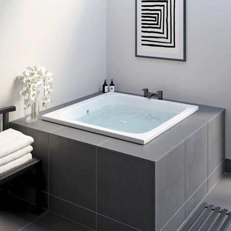 Oriental Japanese Deep Soaking Bath Tub Square Acrylic White 1100 x 1100mm