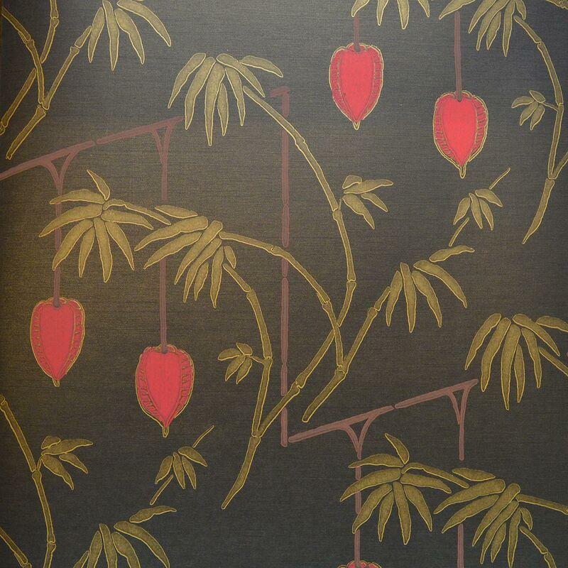 Image of Oriental Palm Bamboo Trees Wallpaper Red Gold Black Metallic - Harlequin
