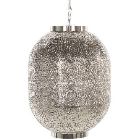 Oriental Pendant Light Ceiling Lamp Moroccan Design Metalwork Silver Maringa