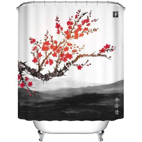 Oriental Sakura Cerisier Paysage Far Mountains Ensemble de Rideau de Douche décoratif résistant à l'eau de Salle de Bains de Tissu de Polyester avec 12 Crochets, 180x180cm