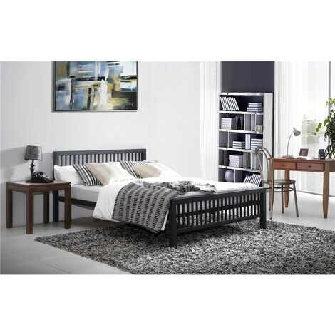 """Oriental Shaker Style Black Metal Bed Frame - Double 4ft 6"""""""
