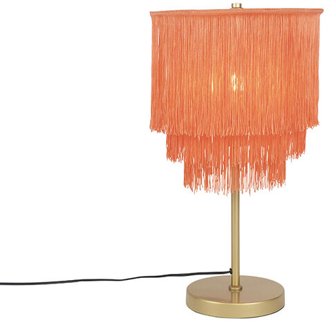 Oriental table lamp gold pink shade with fringes - Franxa