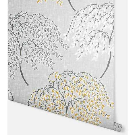 Oriental Tree Ochre & Grey Wallpaper - Arthouse - 908402