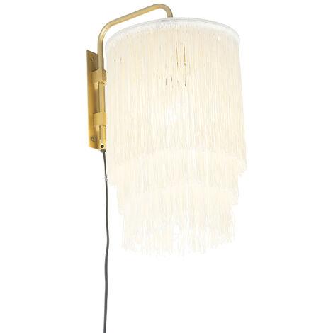 Oriental wall lamp gold cream shade with fringes - Franxa
