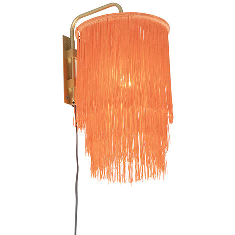Oriental wall lamp gold pink shade with fringes - Franxa