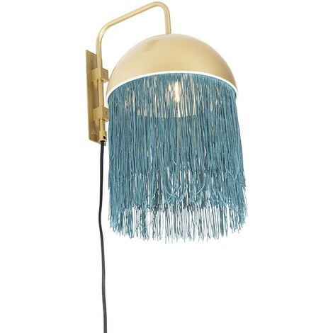 Oriental wall lamp gold with green fringes - Fringle