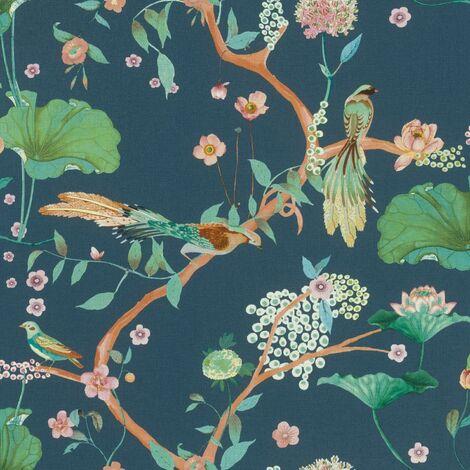 Oriental Wallpaper Chinese Garden Textured Heavy Duty Vinyl Feature Wall Navy