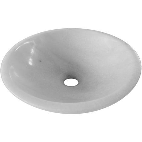 Oriental White Marble Wash Basin Bathroom Design 400mm diameter (B0034)