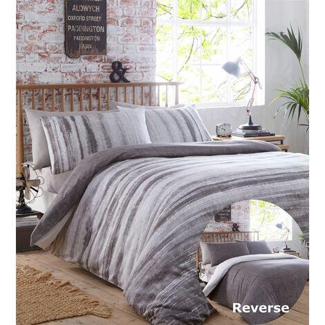 Origin Charcoal Grey Super King Size Duvet Cover Set Bedding Reversible Tie-Dye Quilt