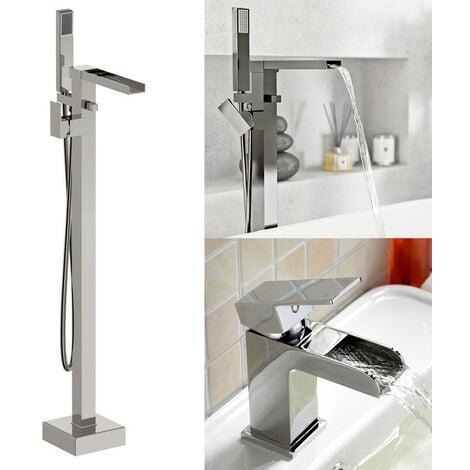 "main image of ""Origin Freestanding Waterfall Bath Shower Tap, Basin Mixer Tap & Waste Chrome"""
