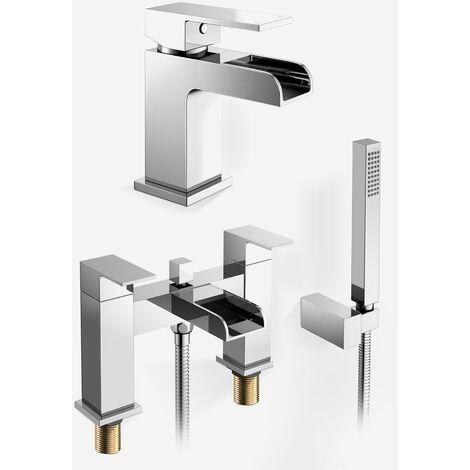 Origin Waterfall Basin Mono Tap, Bath Shower Mixer Tap & Waste Chrome