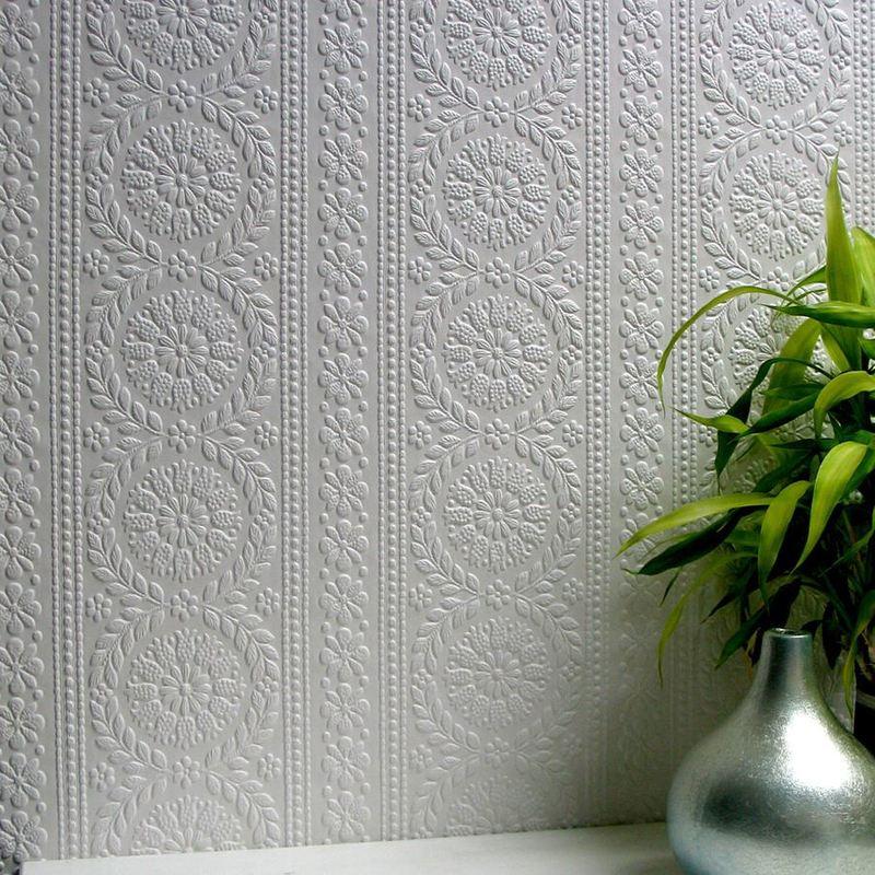 Image of Paintable Flower Wallpaper Luxury Textured Vinyl Embossed Townsend Anaglypta