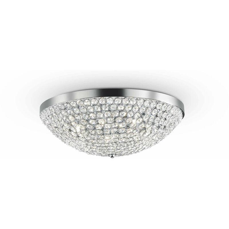 01-ideal Lux - ORION Chrom Kristall Deckenleuchte 7 Lampen