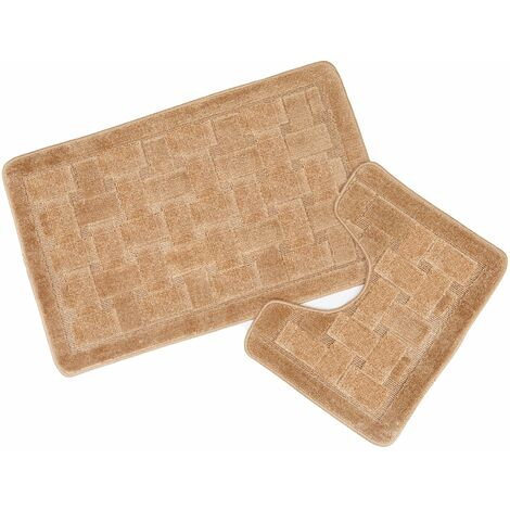 Orkney Beige Bath Mat and Pedestal Set