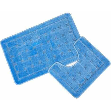 Orkney Blue Bath Mat and Pedestal Set