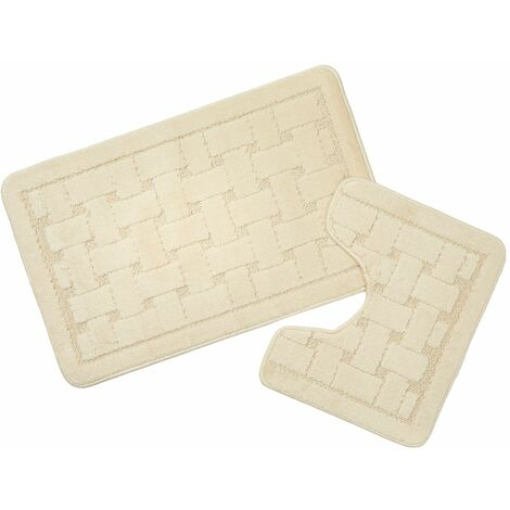 Orkney Cream Bath Mat and Pedestal Set