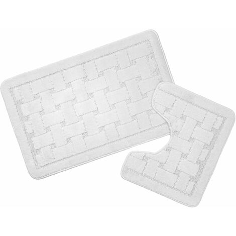 Orkney White Bath Mat and Pedestal Set