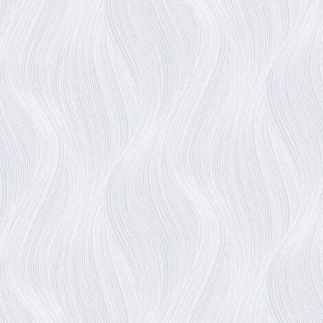 Orla Wave Glitter Wallpaper White Muriva 153104