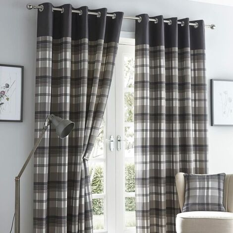 """Orleans 66"""" X 72"""" Charcoal Grey Slate Tartan Check Eyelet Ready Made Curtains"""