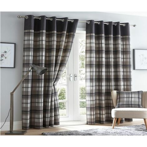 """Orleans 90"""" X 90"""" Charcoal Grey Slate Tartan Check Eyelet Ready Made Curtains"""