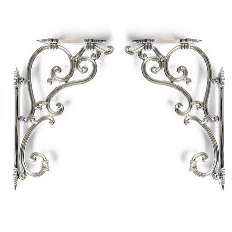 Ornate Chrome Traditional Antique Iron Cast Wall Shelf Toilet Cistern Brackets