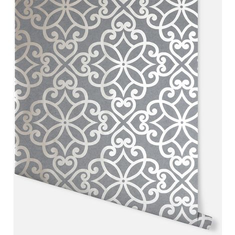 Ornate Motif Charcoal & Rose Gold Wallpaper - Arthouse - 886400