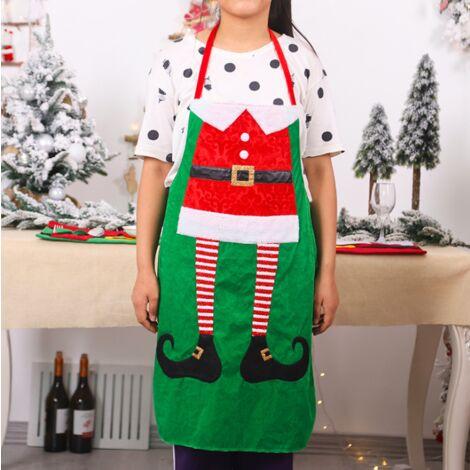 Ornements de Noël Produits de vêtements quotidiens de Noël Tablier de cuisine de Noël Fournitures de fête de famille Vert