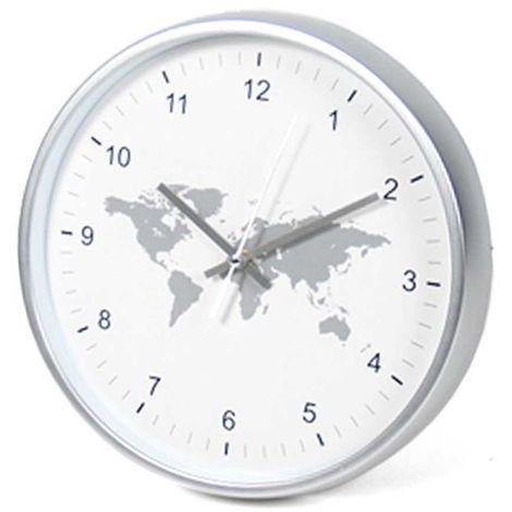 Orologio da Parete Cartina Geografica Mondo in Plastica Diametro 30 cm Bianco