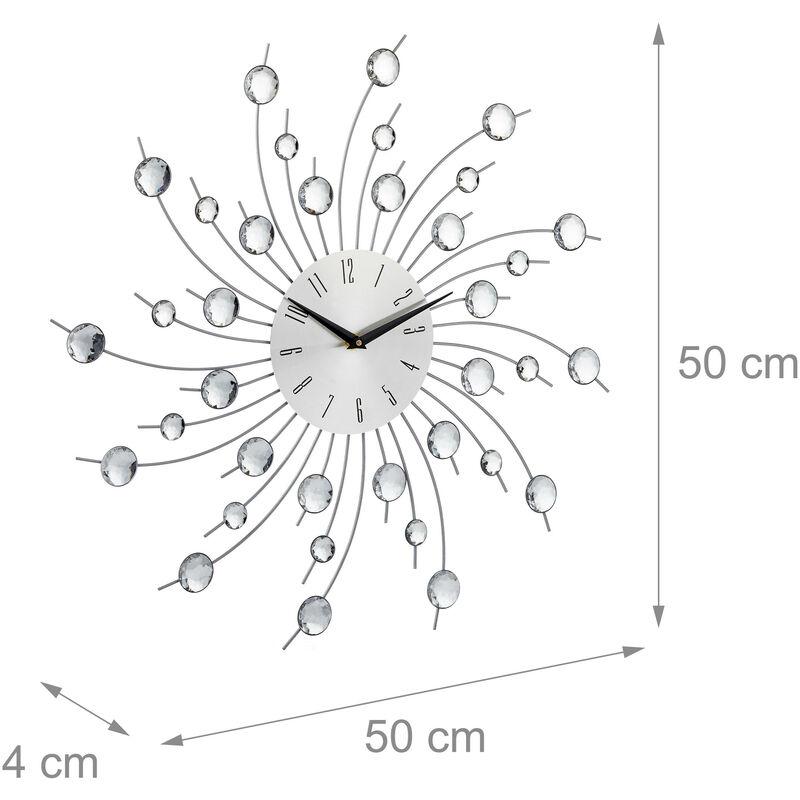 Orologio da parete XL con brillantini grande per cucina salotto senza  ticchettio diametro 50 cm argento