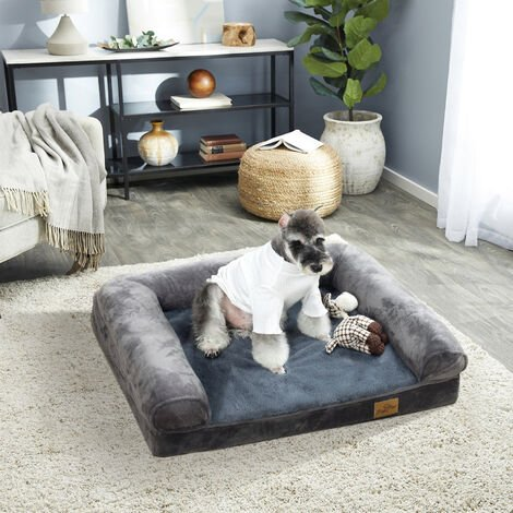 """main image of """"Orthopedic Dog Sofa Bed Couch Chaise Lounger Mat Spine Supportive Bolsters with Removable Washable Cover& Nonskid Bottom, Grey, different size available"""""""