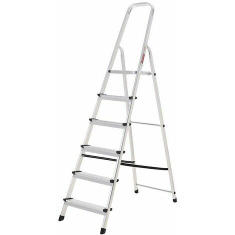 Oryx Escalera Aluminio 6 Peldaños Plegable, Uso doméstico, Antideslizante, Ligera y Resistente